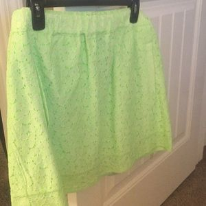 J. Crew lime green mini skirt with pockets!